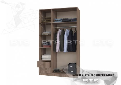 Шкаф 3-х ств.с ящиками