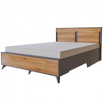 Кровать Сканди 1600х2000 с настилом (серый графит+орех лион)