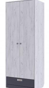 Шкаф 2-дверный Крафт (дуб крафт+серый графит)
