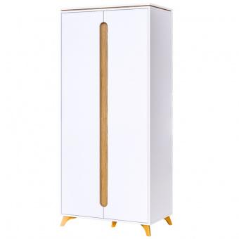 Шкаф 2-х дверный Сканди (белый снег+орех лион)