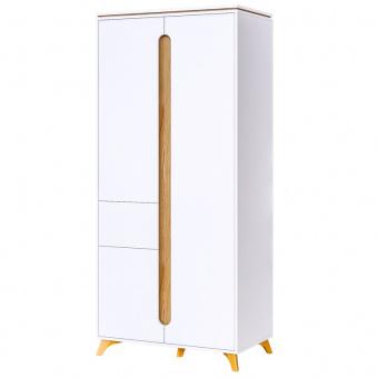 Шкаф 2-х дверный с ящ.Сканди (белый снег+орех лион)