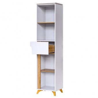 Шкаф открытый с ящ гл 400 Сканди (белый снег+орех лион)