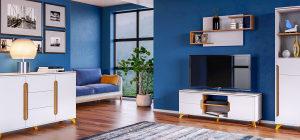 """Комплект мебели в гостиную """"Сканди"""" (Белый снег)"""