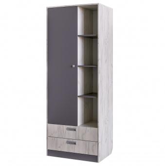 Шкаф для одежды с нишей Крафт (дуб крафт белый+серый графит)