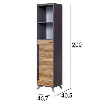 Шкаф открытый с ящ гл 400 Сканди (серый графит+орех лион)
