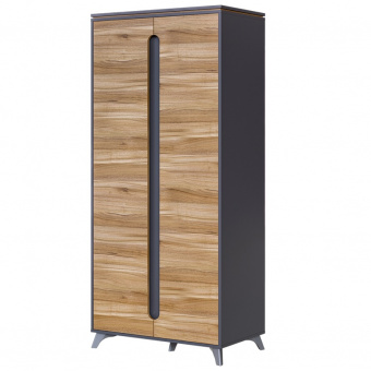 Шкаф 2-х дверный Сканди (серый графит+орех лион)
