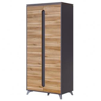 Шкаф 2-х дверный с ящ Сканди (серый графит+орех лион)