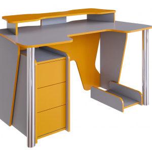 Стол компьютерный Стрим (стальной серый+манго)