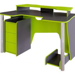 Стол компьютерный Стрим (графит серый+лайм)
