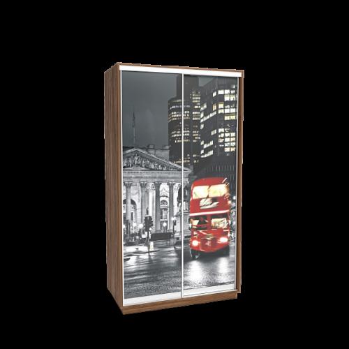 Шкаф-купе «Леон 2» с фотопечатью на стекле «Лондон» двухдверный 1200