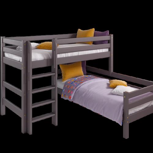 """Вариант 7 Угловая кровать """"Соня"""" Лаванда с прямой лестницей"""