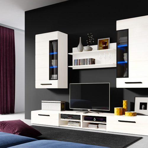 Модульная стенка для гостиной «Кёльн» белый аляска/белый глянец