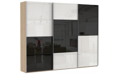 Эста 3-х дверный, 6 стекло белое, 6 стекло черное