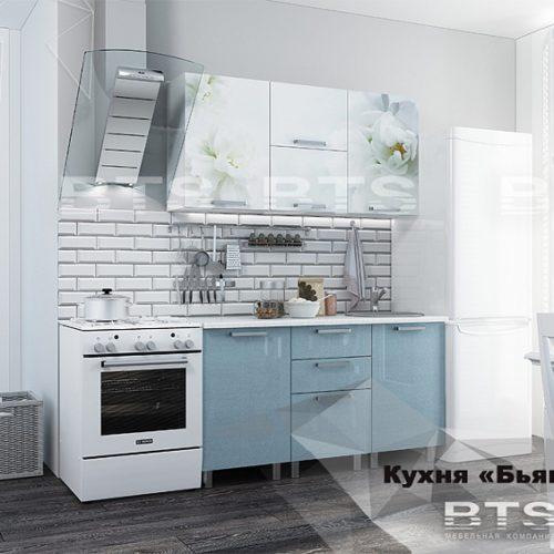 """Кухня """"Бьянка 1,5м"""" голубые блестки"""